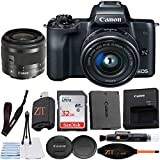 Canon EOS M50 Mirrorless Digital Camera 24.1MP with EF-M 15-45mm f/3.5-6.3 is STM Lens + ZeeTech Accessory Bundle, SanDisk 32GB Memory Card (Black)