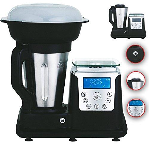 10 in 1 Thermo Multikocher Küchenmaschine mit Kochfunktion/Temperatur 1350 Watt 1.7 Liter Kochen, Mixen, Dampfgaren, Multifunktions-Küchenmaschine, Zerkleiner, Thermo-Koch- & Mix-Maschine (Schwarz)