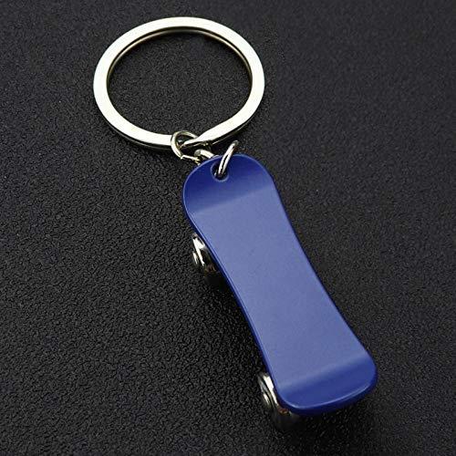 Wjlytf Scooter de Metal, llavero de monopatín, llavero de coche, accesorios, llavero, bolso de moda, encanto, regalo de joyería unisex, azul