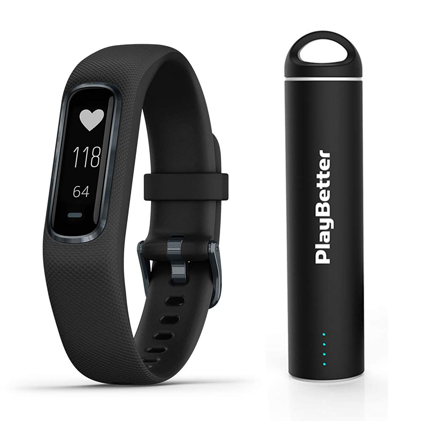 Garmin vivosmart 4 (Black/Midnight, Large) Smart Activity Tracker Power Bundle | with PlayBetter Portable Charger | Fitness Activity Tracker | Heart Rate