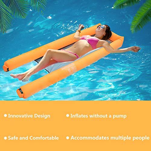 Fansport Aufblasbare Wasserhängematte Bett Hängematte Mesh Mat Luftmatratze Wasser Sofa Faltbare Stuhl Matte für Urlaub Wasser Party