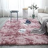 Glitzfas - Alfombra de pelo largo para dormitorio, comedor, pasillo y habitación de los niños, color rosa, 60 x 120 cm