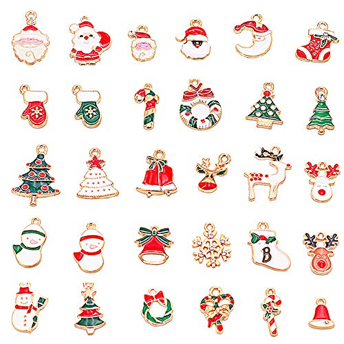 Christmas Pendant,BETOY 30 Piezas Charms Aleación Navidad Diferentes Estilos Colgantes de Navidad Para Manualidades, Collares, Pulseras, Joyas, Navidad, Regalos, Decoraciones para Árboles de Navidad