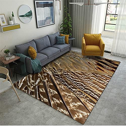 alfombras Salon,Alfombra marrón, patrón Abstracto Anti-Fatiga Antibacterial casa antiestática Alfombra Decorativa ,Alfombra Lavable -marrón_80x160cm