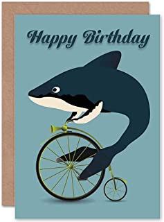 Wee Blue Coo Happy Birthday Whale Shark Bicycle Penny Farthing Absurd Greetings Card