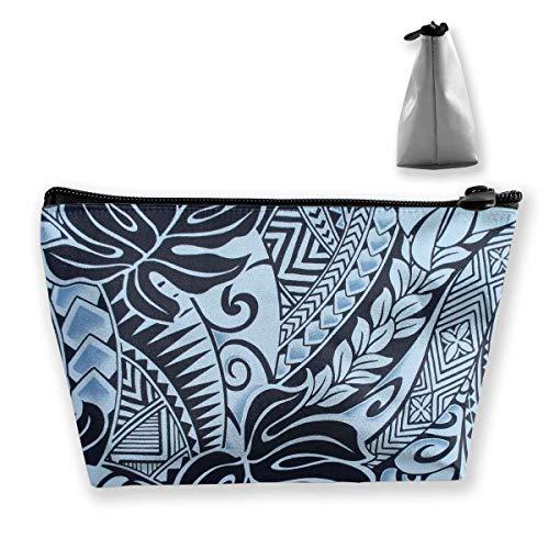 Fashion Polynesian Tattoo Tapa Designs in Blue Trousse de Maquillage Makeup Trousse de Toilette Toiletry Organizer Pencil Case Handbag