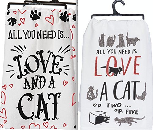 Primitives by Kathy Set 2 Cat Lovers Flour Sack Kitchen Dish Towels ~ All You Need is Love and a Cat ~ Or 2 Or 5 Glitter
