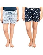 A9- Women Printed White, Navy Blue Shorts - Pack of 2