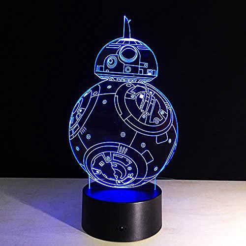 Ilusión lámpara de noche Muerte Star Wars acorazado milenio halcón R2 D2 Yoda BB 8 Transporte perro película Fans niño mesa escritorio dormitorio-7 colores cambiantes