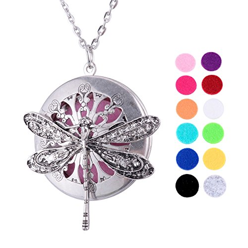 VALYRIA Alloy Dragonfly Locket Aromatherapy Essential Oil Diffuser Necklace with 12 Refill Pads