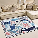 ALAZA Cartoon Coral Reef Shark Whale Coral Reef Jellyfish Area Rug Rugs for Living Room Bedroom 7' x 5'