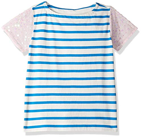 LOOK by Crewcuts - Camiseta con manga de lentejuelas para niñas, Blue Stripe/Pink, 10