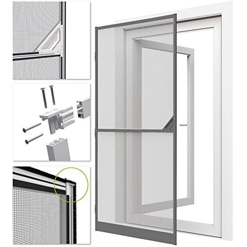 Zanzariera con telaio grigio in alluminio per porte e balconi - 100x215 cm - protezione efficace anti-insetti/mosche