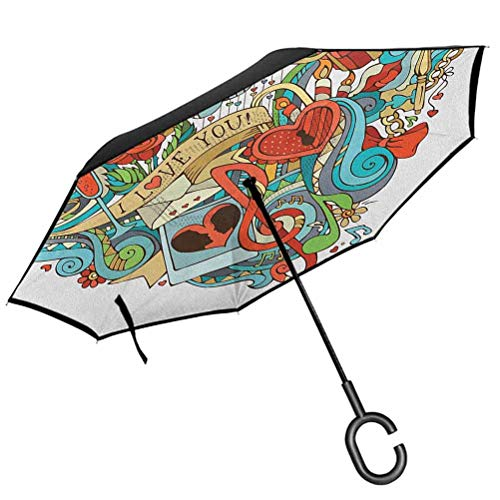 RenteriaDecor I Love You Umbrellas Love Valentines with Eros Arrow Present Boxes Swirls Balloons Ring Marry Me Reverse Folding Umbrellas Windproof UV