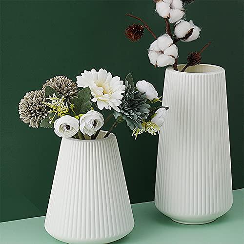 Queta 2 Stück Blumenvase Set Kunststoff Vase Moderne Dekorative Blumenvase Pampasgras Vase Küche Wohnzimmer Schlafzimmer Büro Hochzeit Tisch Deko (Weiß)