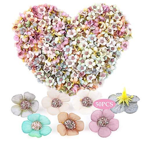 Künstliche Blumen, Simulation Dekorativer Blumenkopf 50 Stück Kunstblumen Dekoration Blume Kopf Bunt Mini Seidenblumen Daisy Flower Head für Scrapbooking Handwerk Zubehör DIY Hochzeitsdekor