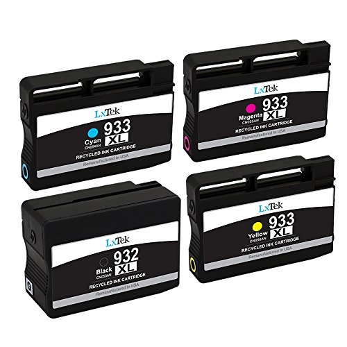 LxTek 4 Pack Remanufactured 932XL 933XL Ink Cartridge for HP 932XL 933XL 932 XL 933 XL Ink Cartridge High Yield for Officejet 6700 6600 7610 7612 6100 7110 Printer (1 Black|1 Cyan|1 Magenta|1 Yellow)