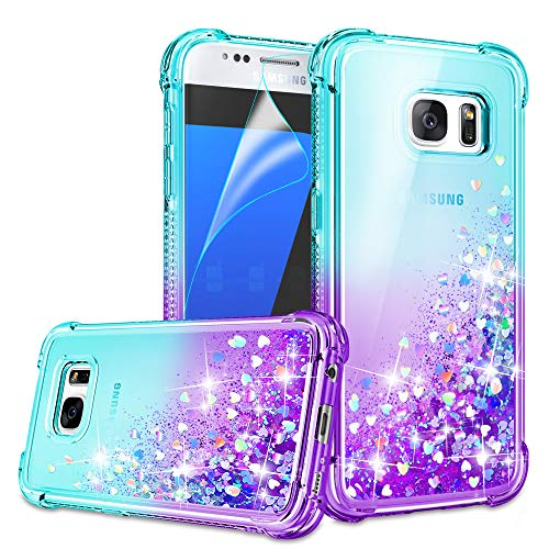 Galaxy S7 Case, Galaxy S7 Phone Case with HD Screen Protector for Girls Women, Gritup Cute Clear Gradient Glitter Liquid TPU Slim Phone Case for Samsung Galaxy S7 Teal/Purple