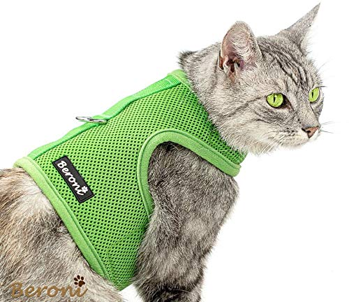 Beroni Katzengeschirr Cat Walking Jacket Brustgeschirr Weste ausbruchsicher NO Escape grün (Medium)