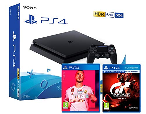 PS4 Slim 500Gb Negra Playstation 4 Consola + FIFA 20 + Gran Turismo Sport