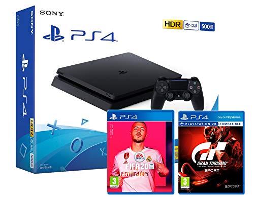 PS4 Slim 500Go Console Playstation 4 Noir + FIFA 20 + Gran Turismo Sport