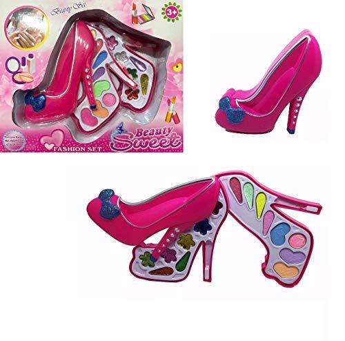 Kit Maquiagem Infantil Rosa Pink Formato De Sapato