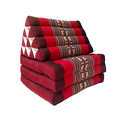 Collumino, materasso da meditazione tradizionale thailandese Kapok a 3 strati, con cuscino reclinabile triangolare in stile orientale, per yoga, massaggi o relax Rosso con elefanti.