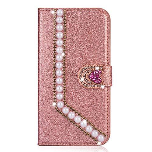 Miagon Diamond Case for Samsung Galaxy S20,Glitter Rhinestone Pearl Heart PU Leather Folio Flip Wallet Cover Magnetic Closure Card Slots,Rose Gold