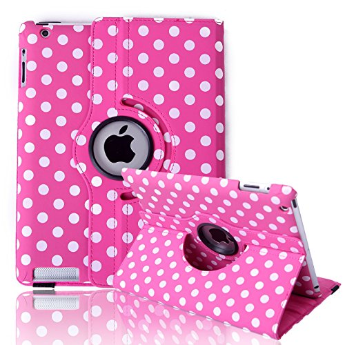 HDE Rotating iPad Case Magnetic Folding Leather Cover Folio Flip Stand for Apple iPad 2 iPad 3 iPad 4 (Pink & White Polka Dot)