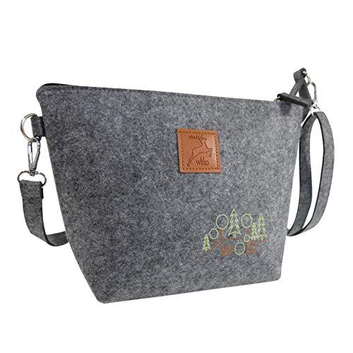 Damen Handtasche zum Umhängen aus Filz mit Reißverschluss Dirndltasche Oktoberfesttasche Trachtentasche Ausgehtasche Festtasche hochwertige Ausführung mit Druck und Badge in Lederoptik
