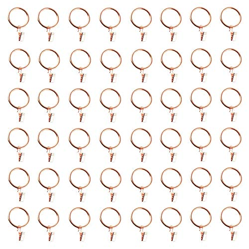 LZYMSZ Vorhang Clips Ringe Metall dekorative rostfreie vorhangringe Gardinenstange Ring mit Clip für Windows, Bad, Home, Küche-OD 39mm (Gold, 40PC)