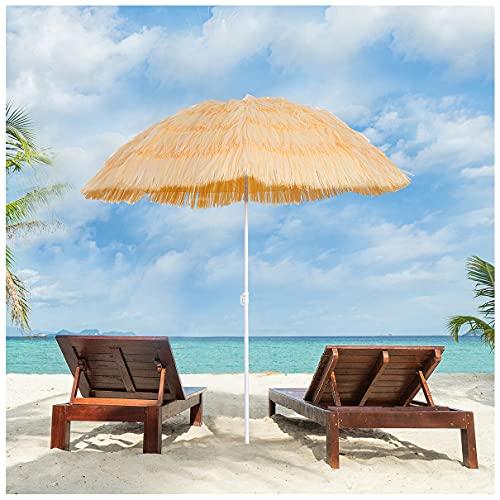 WUKALA Sombrillas Terraza Grandes 6ft,Sombrilla de Playa Inclinable a 45°,Parasol Exterior Estilo Hawaiano para Terraza Piscina Patio Sombrilla Jardin