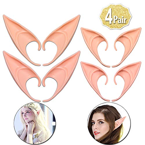 AniSqui Orejas De Elfo Cosplay 12cm & 10cm, (4 Pares de látex Elf Ear), Orejas de Duendes Hadas by