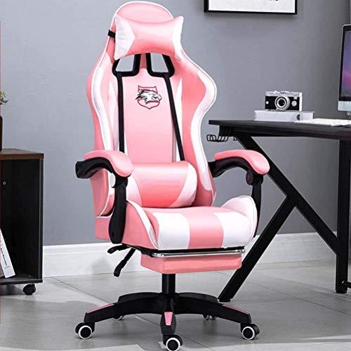 SJZLMB Gaming Chair mit Fußstütze, Ergonomische Schwenker Racing Stuhl High Back Heavy Duty Computer-Stuhl, mit Lendenwirbelstütze Kopfstütze PU-Büro-Stuhl Massage Recliner (Color : C)