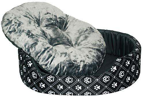 Dogcatbeds Hundebett für Hunde und Katzen Schlafplatz Hundekissen Hundebett Hundesofa Couch Hundelaufställe ((L) 69x57x16cm / Liegefläche 63x51cm, Schwarz und Weiß)