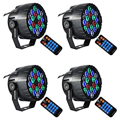 Stage Lights,SAHAUHY RGBW Mini 18 Led Par Lights Sound Activated DMX Color Mixing Up Lighting with Remote (Four Stage light)