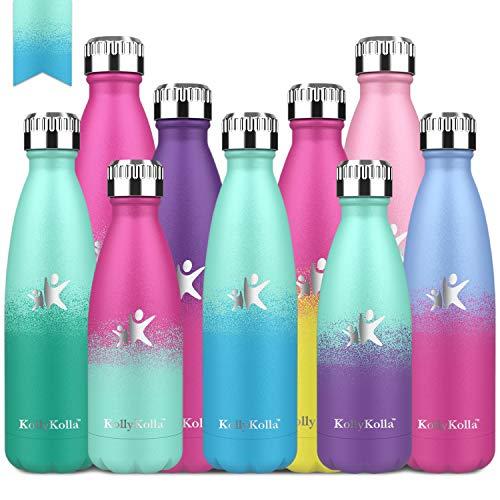 KollyKolla Trinkflasche Edelstahl, 500ml BPA Frei Vakuum Isolierte Auslaufsicher Wasserflasche, Thermosflasche für Sport, Outdoor, Fitness, Kinder, Schule, Kleinkinder, Macaron Grün & Blau