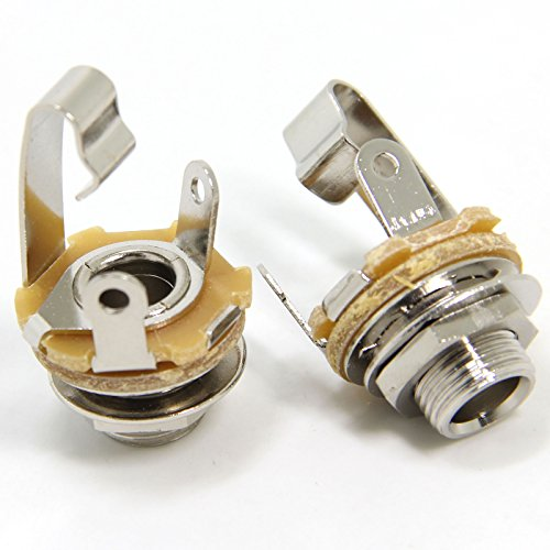 Ancable 2-Pack 1/4 Inch Female Guitar Input Jack-6.35mm TS Mono Panel Mount Socket with Washer and Nut Solder Type