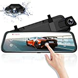 Mirror Dash Cam,AZDOME Upgrade 10' IPS Full Touch Screen, Front and Rear Dual Lens Car Camera, Waterproof Backup Rear View Camera with WDR, Night Vision, Parking Assistant, Parking Monitor