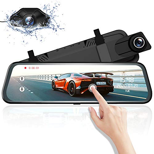 Mirror Dash Cam for Car, AZDOME 10' Touch Screen ,1080P HD,170 °Wide Angle, Front and Rear Car...