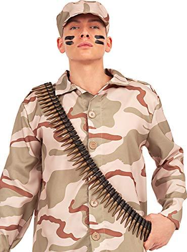 Funidelia | Cinturn de Balas para Hombre y Mujer Militar, Soldado, Profesiones, Camuflaje - Negro, Accesorio para Disfraz