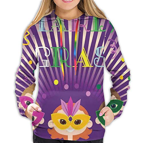 Women's Hoodies Tops,Fat Tuesday Mardi Grass Party Starburst Pattern Figures with Harlequin Masks,Lady Fashion Casual Sweatshirt(L)