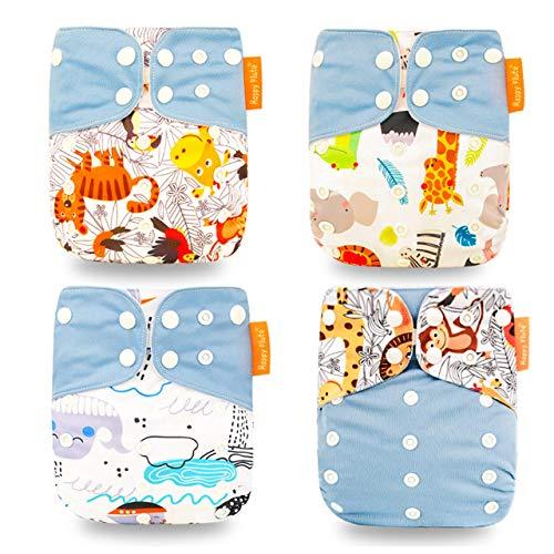 4 Piezas Baby Pocket Pañal Juego de Pañales de Tela Todo En Uno Cómodo Transpirable Reutilizable Pañales Lavables Insertos para Bebés y Niños Pequeños (Azul + Mono + Gato + Burro)