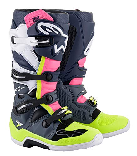 Alpinestars Unisex-Erwachsene Tech 7 Stiefel, Grau/Dunkelblau/Pink Fluo Größe 45 (Mehrfarbig, Einheitsgröße)