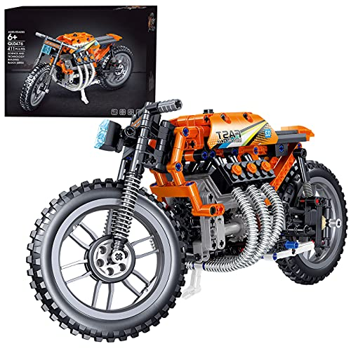 BGOOD Juego de construcción para motocicleta, 411 bloques de montaje de tecnología para carreras, compatible con Lego Technic