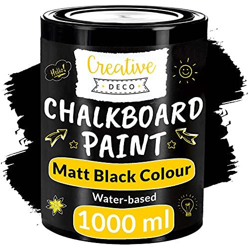 Creative Deco Schwarz Wandfarbe Kreidefarbe Tafelfarbe  1000ml   10 m² / 1L Effizient   Matt Farbe für Möbel, Holz, Metall, Glas   Wasserbasis Ungiftig   Aussenbereich Kreideschreiben und Zeichnen
