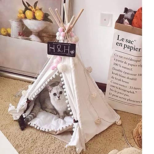 MGWA Cama de Perro Cat Litter Dog Carpa Pet House Nordic Minimalista Viento Algodón Resistente A La Captura Semi-Cerrado Villa Small Cat Dog Net Red