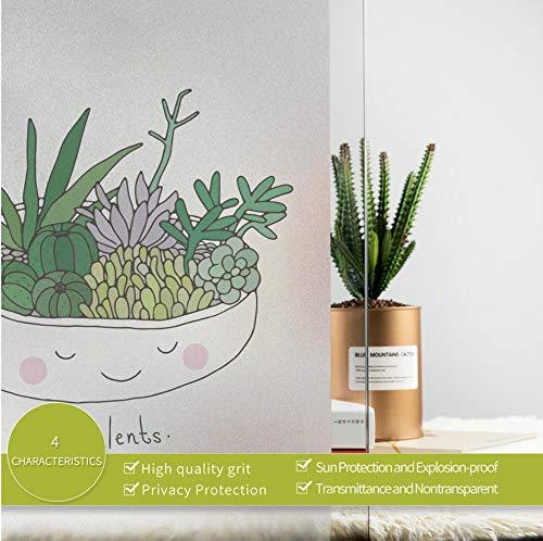 Kawaii Mignon Vert Plant En Pot Fenêtre Autocollant Décoratif Haute Qualité Vinyle Givré Opaque Film Intimité