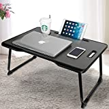 Aitmexcn Laptop Bed Table, Foldable Portable Lap Standing Desk with Cup Slot & Handle, Notebook Stand Breakfast Bed Tray Book Holder for Sofa, Bed, Terrace, Balcony, Garden - Black