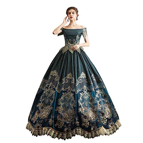 High-end Court Rococo Baroque Marie Antoinette Ball Dresses 18th Century Renaissance Historical Period Dress Gown for Women (L:Height65-67 Chest38.5-40' Waist30.5-32', Blue-Li)